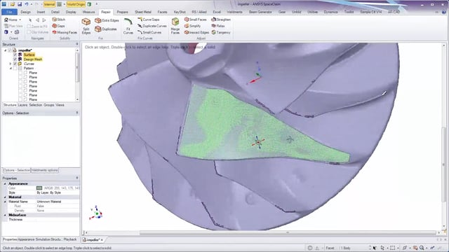 Overview Video Reverse Engineering using ANSYS SpaceClaim