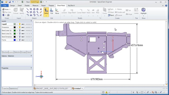 Unfolding Sheet Metal in ANSYS SpaceClaim